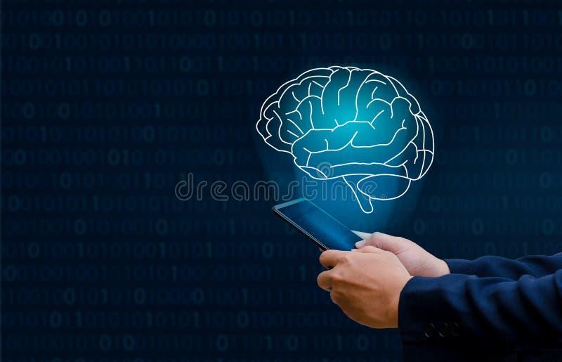 Бизнесмены руки отжимают телефон Технология мозга графическая бинарная голубая стоковая фотография rf