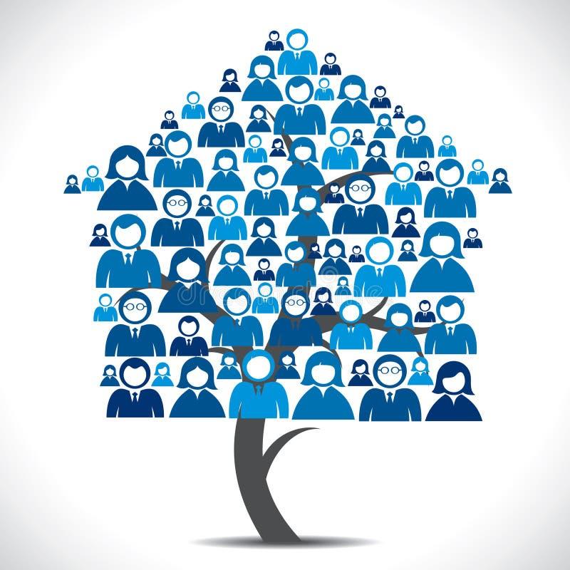 Бизнесмены самонаводят дерево иллюстрация вектора