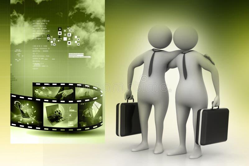 2 бизнесмены связывают совместно бесплатная иллюстрация