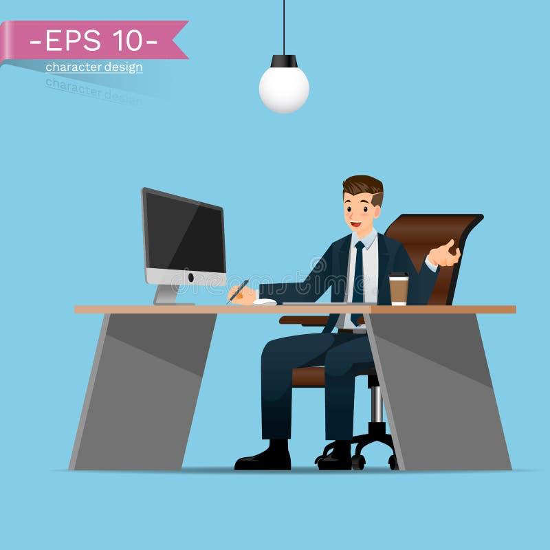 Бизнесмены сидят и работают очень удобная на столе в офисе иллюстрация штока