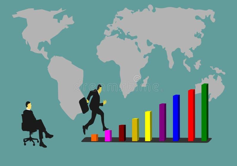 Бизнесмены скачут на диаграмму успеха Имейте друга сидеть наблюдать иллюстрация вектора