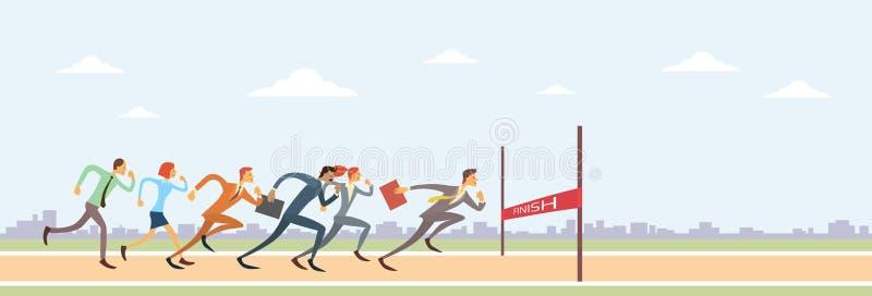 Бизнесмены собирают бег к конкуренции руководителя группы финишной черты иллюстрация вектора