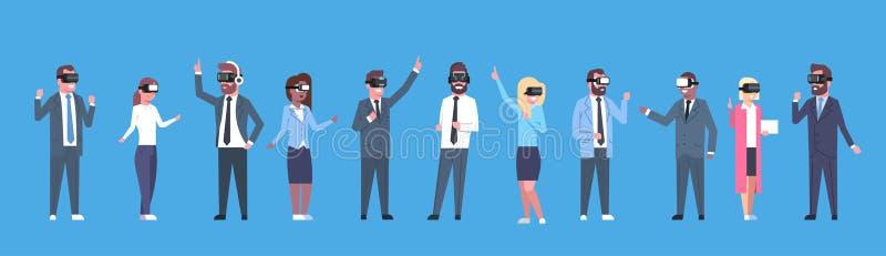 Бизнесмены собирают нося знамя стекел виртуальной реальности шлемофона Vr горизонтальное иллюстрация штока