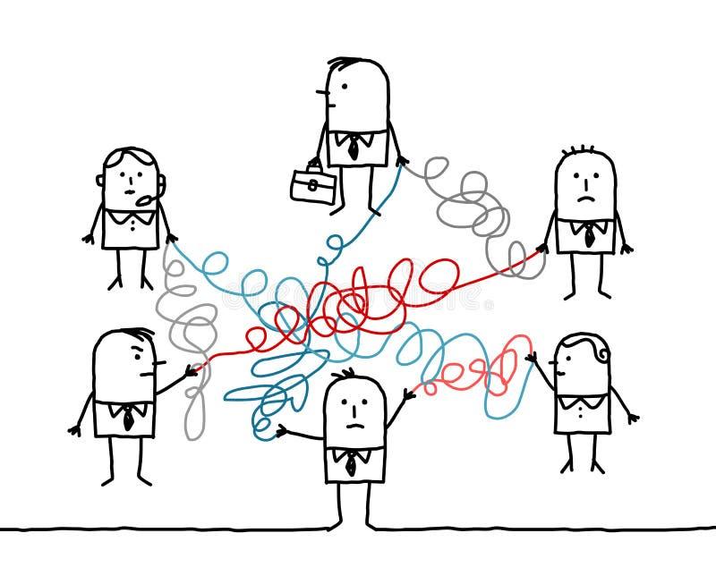 Бизнесмены соединенные запутанными строками иллюстрация вектора