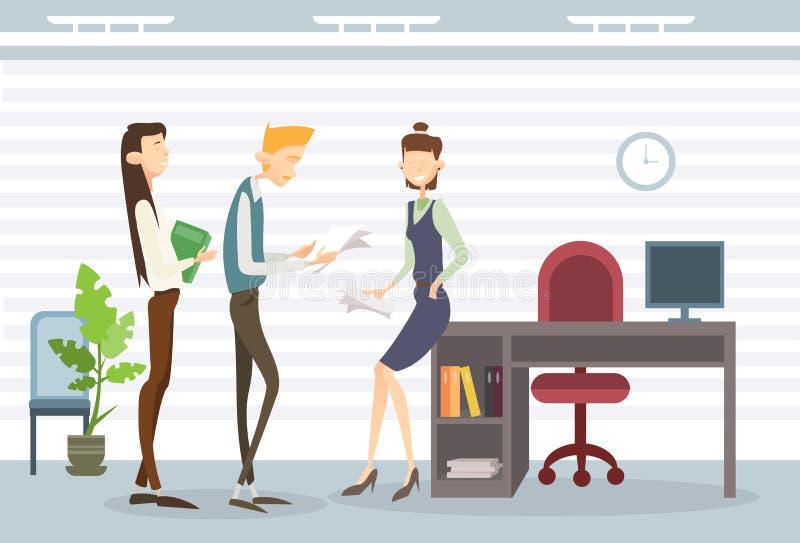 Бизнесмены сотрудничества сыгранности современного офиса команды группы внутреннего иллюстрация штока