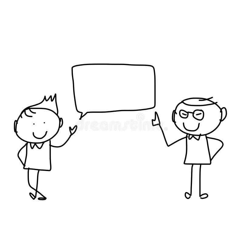Бизнесмены счастья шаржа чертежа руки иллюстрация вектора