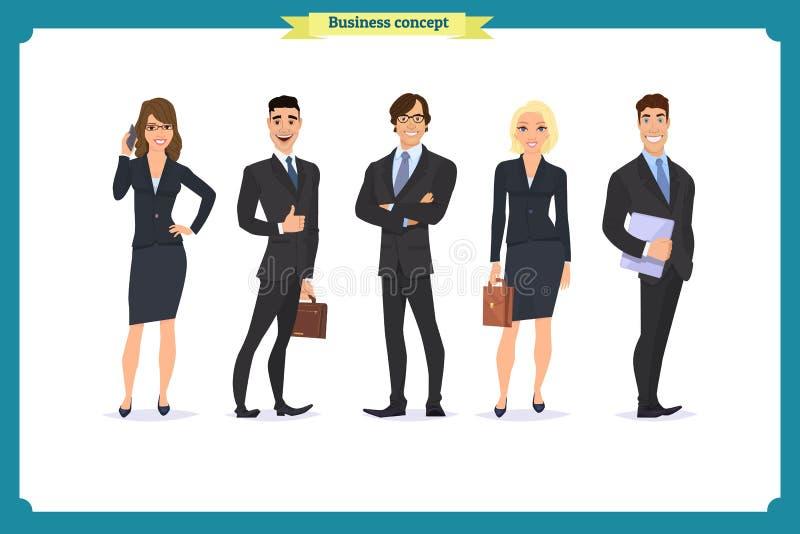 Бизнесмены сыгранности, иллюстрации вектора в плоском стиле команда мегафона человека повелительницы кофе дела Группа людей одета иллюстрация штока