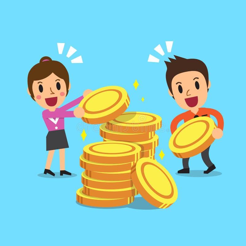 Бизнесмены с монетками денег иллюстрация штока