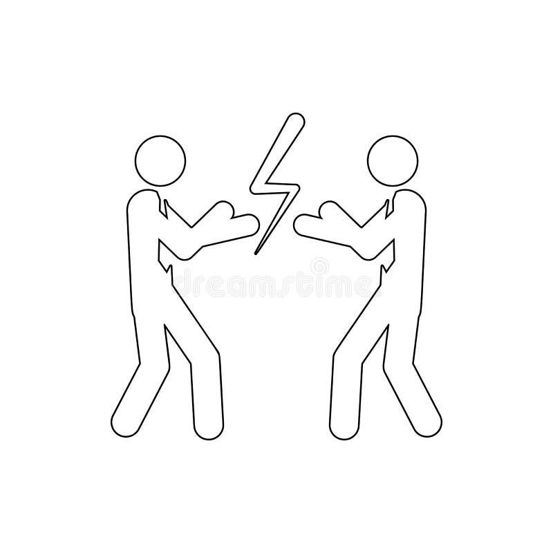 Бизнесмены с перчатками бокса готовыми для боя значка Элемент конфликта для мобильных концепции и значка приложений сети Тонкая л иллюстрация штока