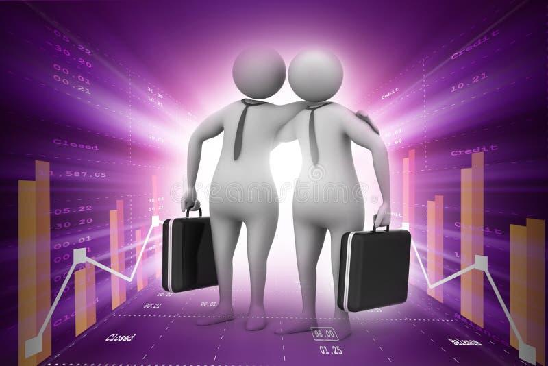 2 бизнесмены с портфелем иллюстрация вектора