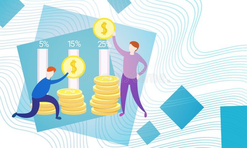 Бизнесмены с успехом финансов предпринимателей валюты денег монетки богатым иллюстрация вектора