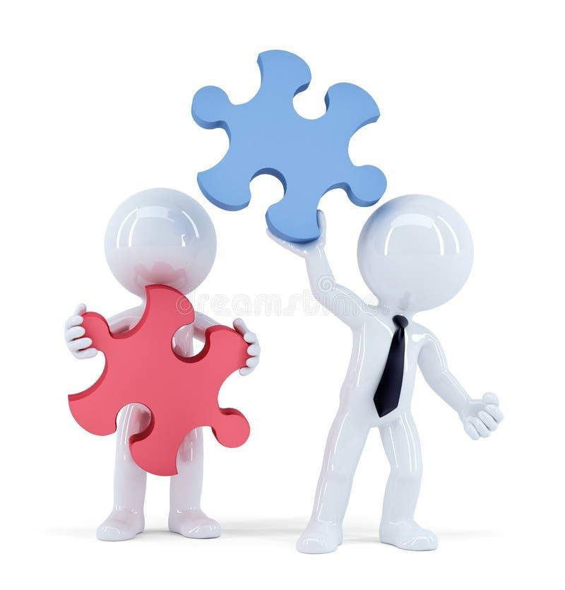 Бизнесмены с частями головоломки Принципиальная схема сыгранности изолировано Содержит путь клиппирования иллюстрация штока