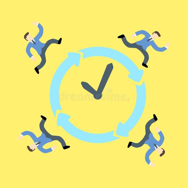 Бизнесмены участвуя в гонке против времени вокруг часов иллюстрация вектора