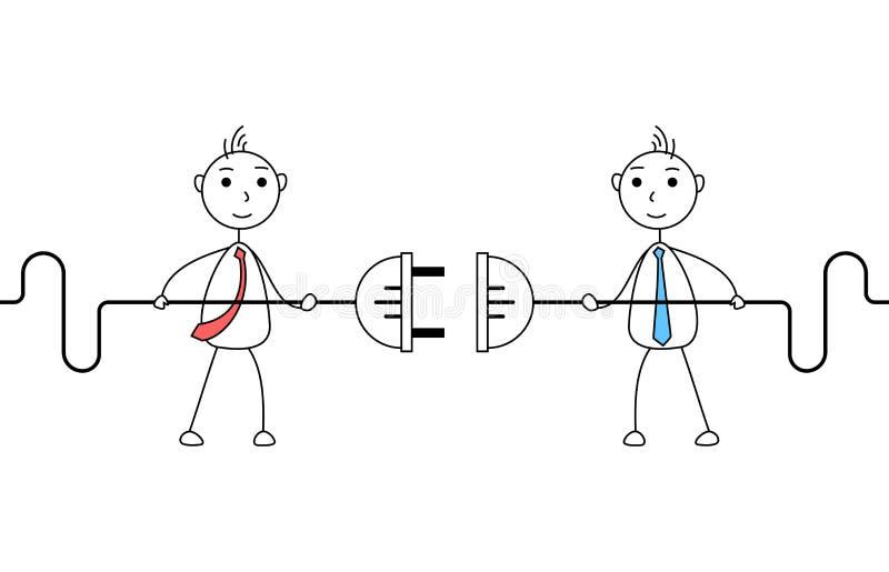 Бизнесмены шаржа соединяя электрическую штепсельную вилку иллюстрация вектора