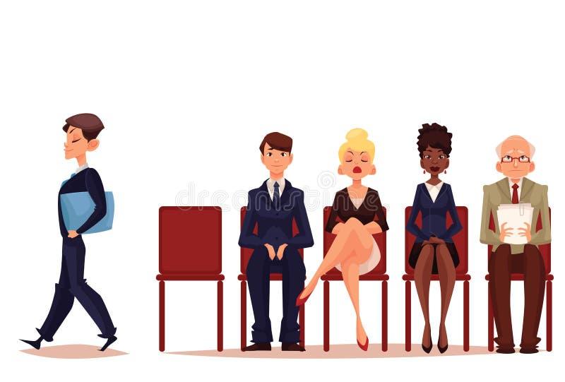 Бизнесмены, люди и женщины, ждать собеседование для приема на работу бесплатная иллюстрация