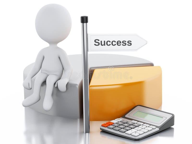 бизнесмены 3d с диаграммой долевой диограммы и калькулятор офиса иллюстрация штока