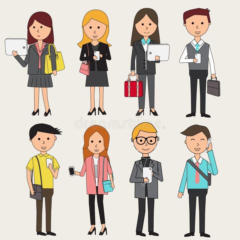 Бизнесмены Doodle с элементами infographics smartphone ILL. иллюстрация штока