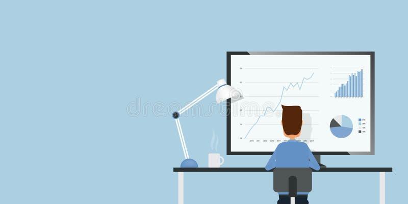 Бизнесмен анализирует отчет о диаграммы финансов и вклада иллюстрация штока