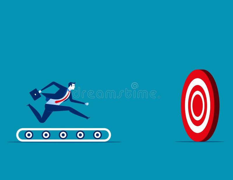 Бизнесмен бежать на третбане и цели Дело концепции иллюстрация штока