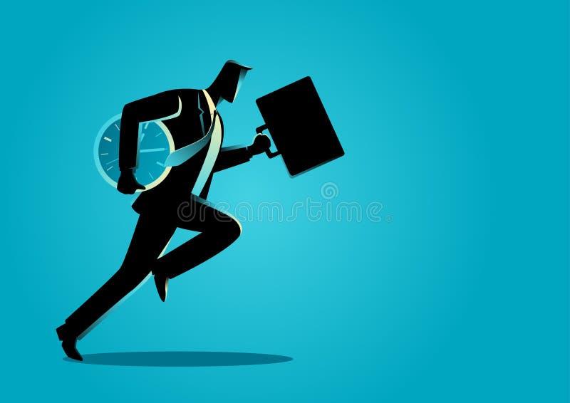Бизнесмен бежать с портфелем и часами иллюстрация вектора