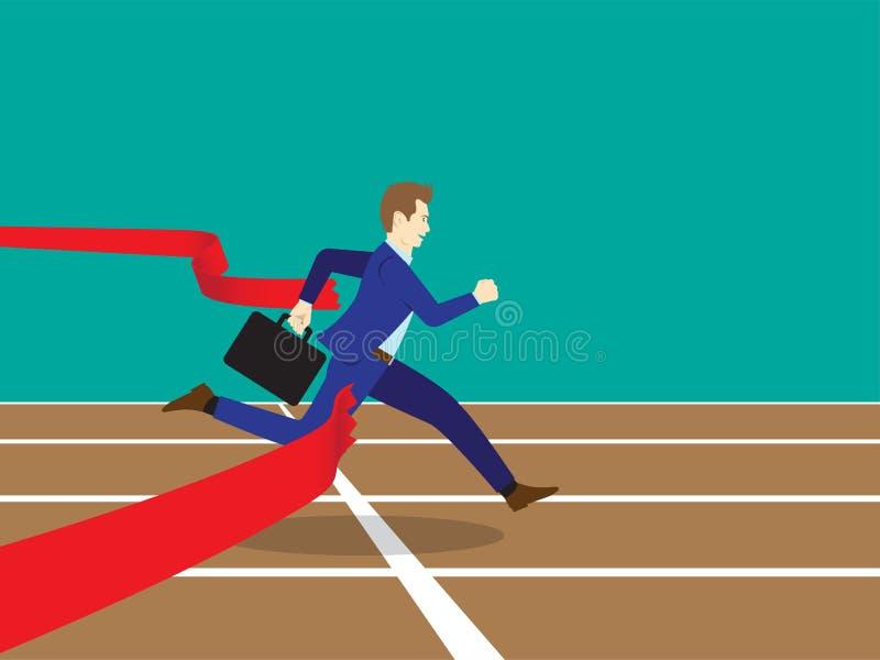Бизнесмен бежать через финишную черту иллюстрация штока