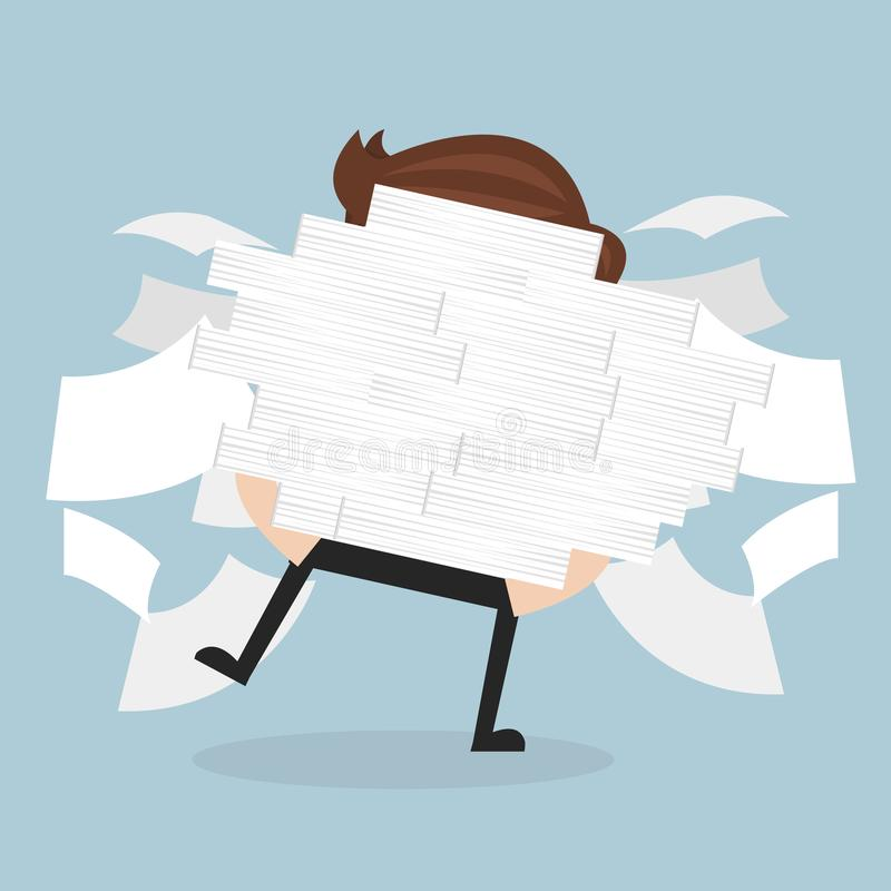 Бизнесмен бежит держать много документы в его руках бесплатная иллюстрация