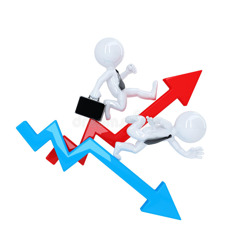 Бизнесмен бежит сверх стрелка диаграммы Концепция подъема и падения изолировано Содержит путь клиппирования бесплатная иллюстрация