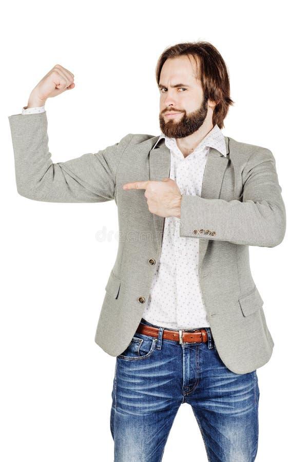 бизнесмен бицепса его показ эмоции, выражения лица, fe стоковые фото