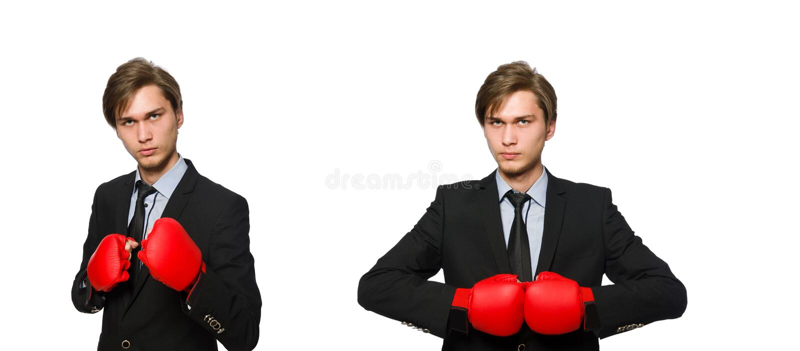Бизнесмен боксера изолированный на белизне стоковое изображение