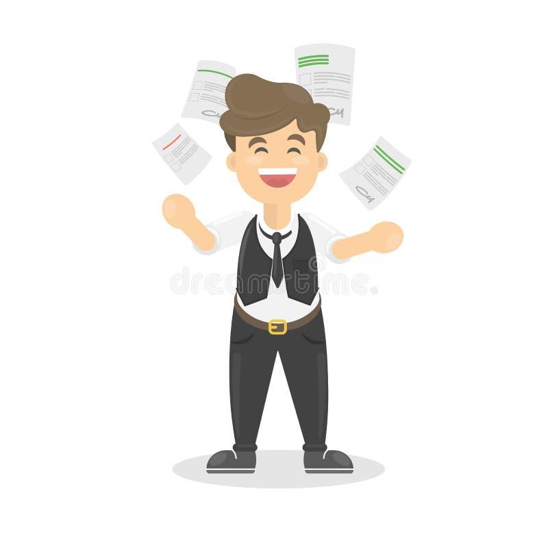 Бизнесмен бросает бумагу иллюстрация вектора
