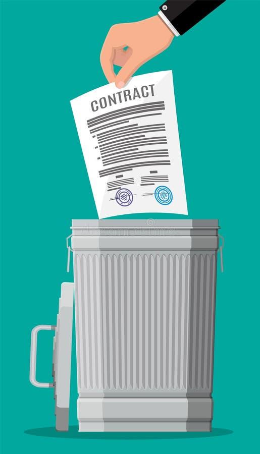 Бизнесмен бросает контракт в мусорном ведре иллюстрация вектора