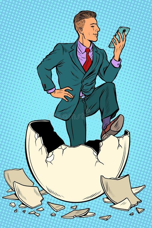 Бизнесмен был рожден от яйца Читает новости в смартфоне иллюстрация вектора