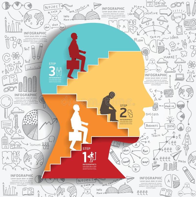 Бизнесмен вектора вверх по стилю отрезка бумаги лестницы infographic иллюстрация штока