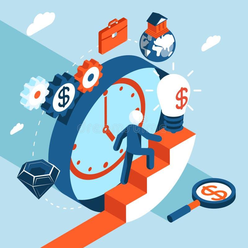 Бизнесмен взбирается лестницы к финансовому иллюстрация штока