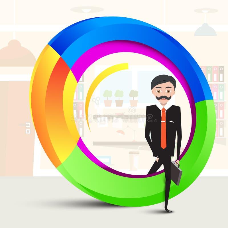 Бизнесмен внутри абстрактной красочной формы иллюстрация вектора