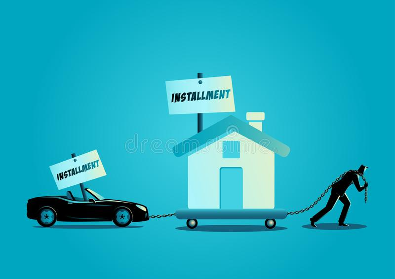 Бизнесмен волоча дом и обратимый автомобиль бесплатная иллюстрация