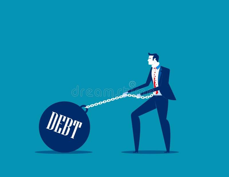 Бизнесмен волоча задолженность веса на цепи Дело ve концепции иллюстрация штока