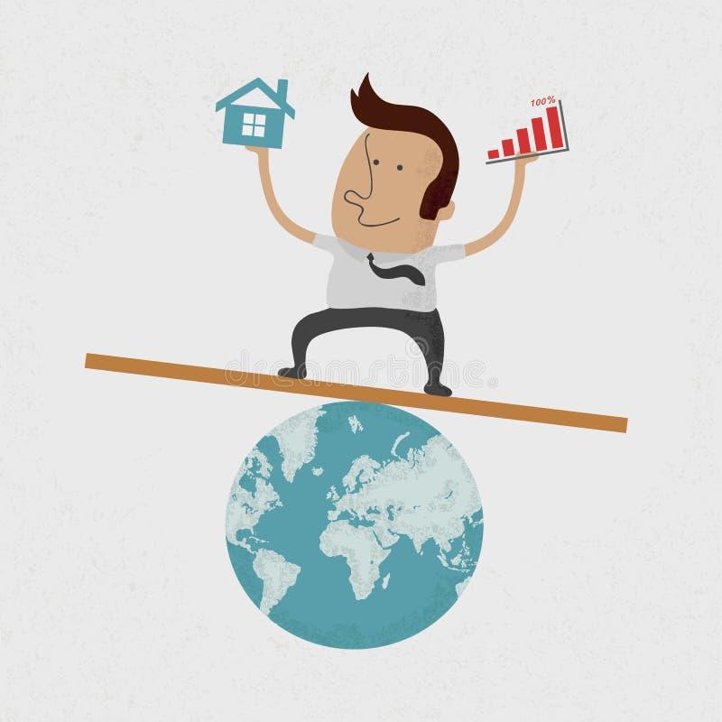 Бизнесмен вручая диаграмму над и домашнее на землей бесплатная иллюстрация