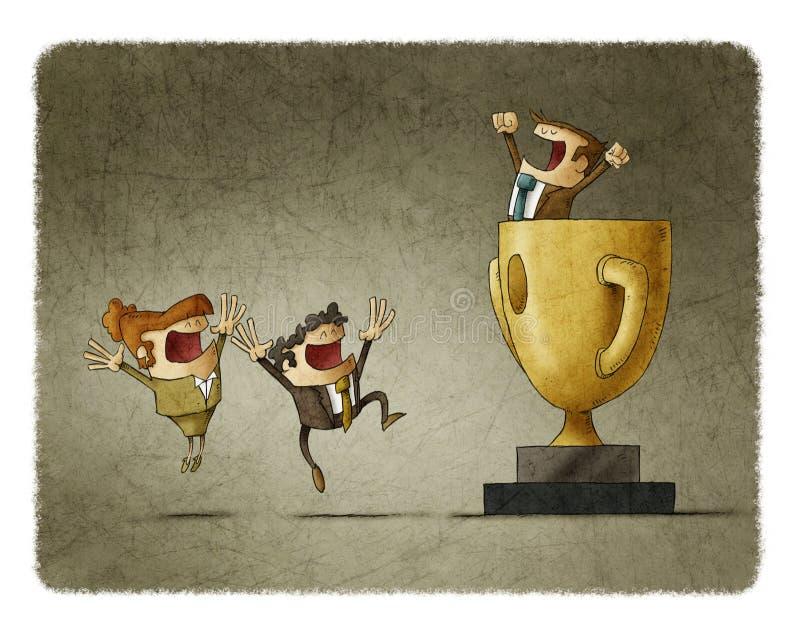 Бизнесмен выигрывает цель с сотрудничеством его команды иллюстрация вектора
