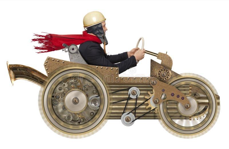 Бизнесмен в автомобиле steampunk стоковые фотографии rf