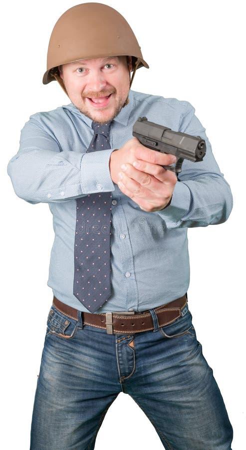 Бизнесмен в воинском бой шлема стоковое изображение rf