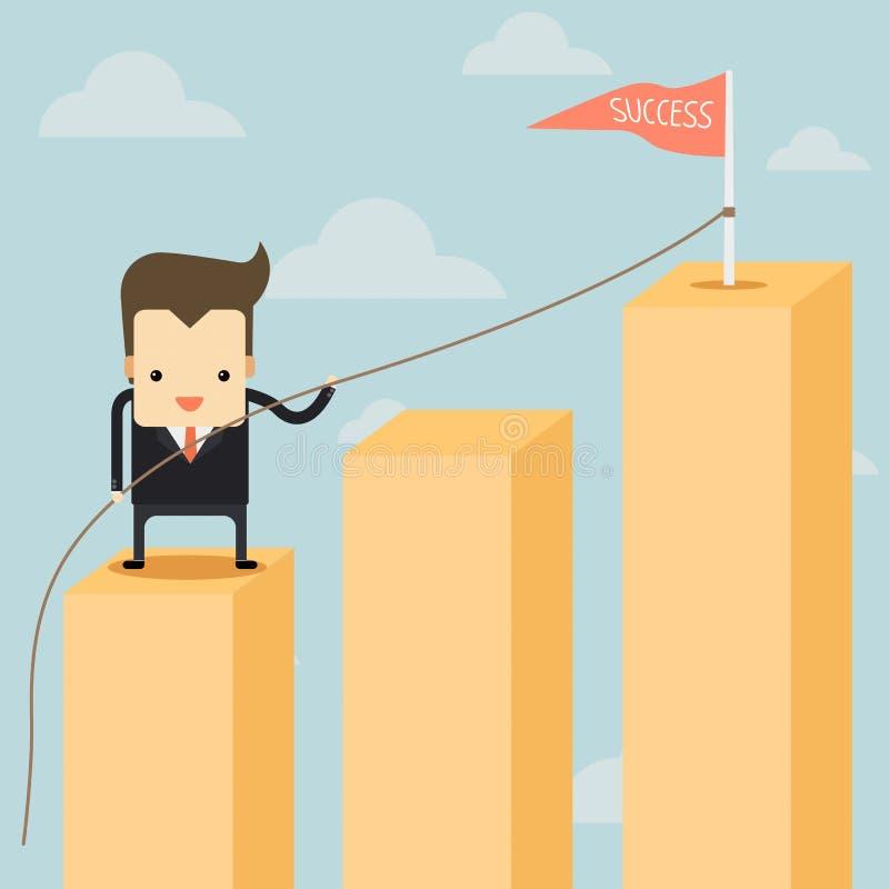 Бизнесмен в диаграмме идя до успех бесплатная иллюстрация