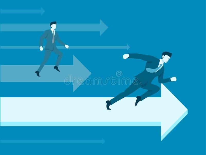 Бизнесмен в конкуренции дела иллюстрация вектора