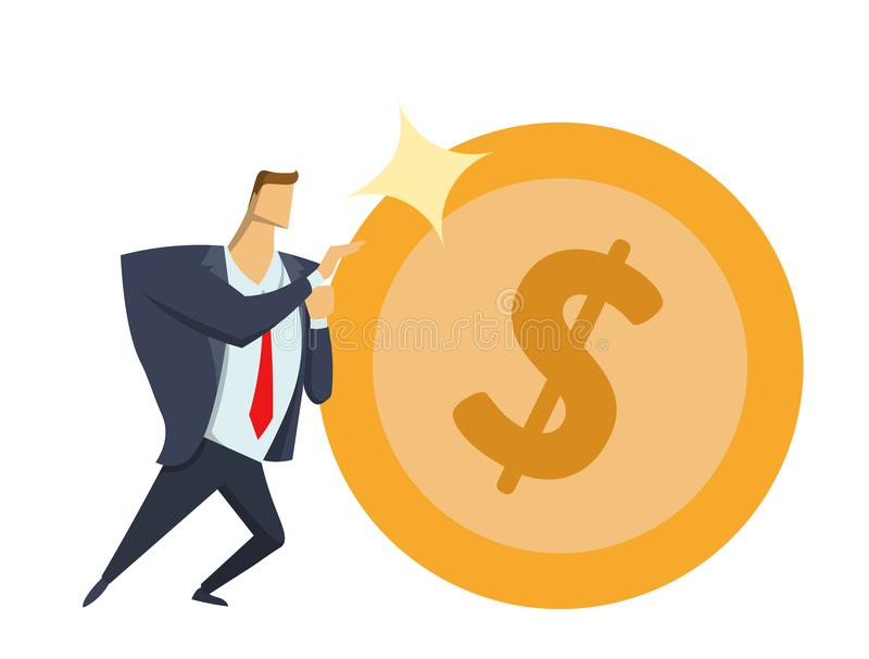 Бизнесмен в костюме офиса нажимая большую сияющую монетку доллара вперед Достигать целей Гонка для успеха Дело Sisyphean иллюстрация вектора