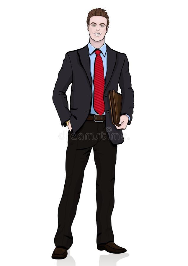 Бизнесмен в костюме с связью с портфелем в его руках стоя лицевая сторона, без сокращений портрета шаржа вектора мужское, multi иллюстрация вектора