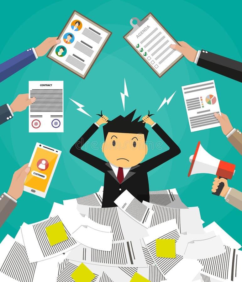 Бизнесмен в куче бумаг офиса бесплатная иллюстрация