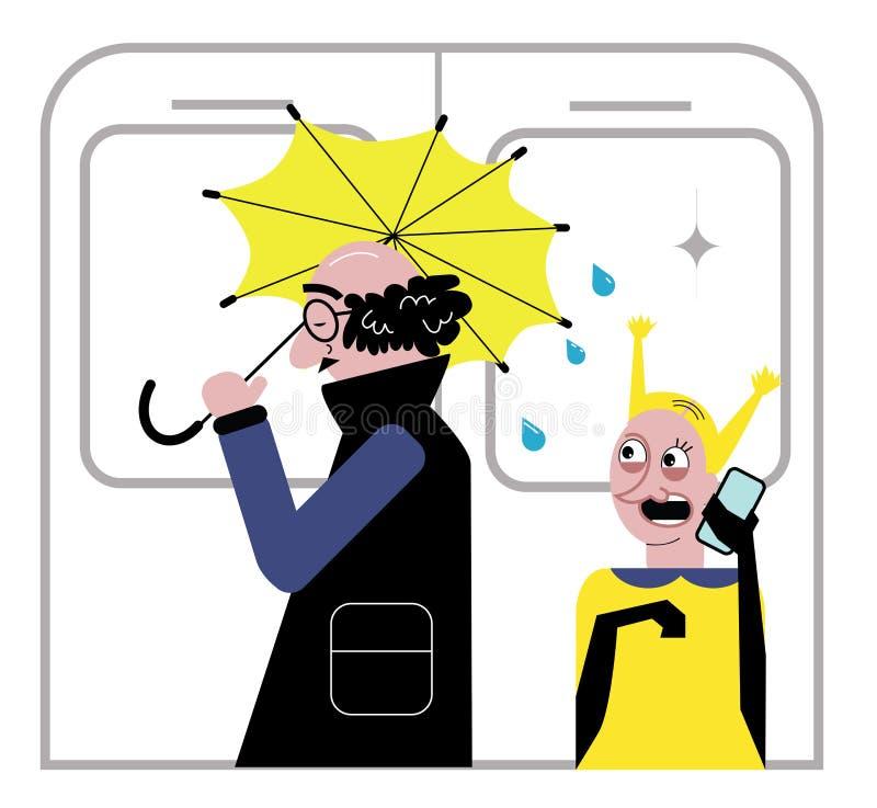 бизнесмен в метро с зонтиком и падения понижаясь на женщину хорошие образы или плохие образы Плоский дизайн для сети Смешная теле иллюстрация вектора