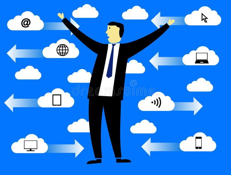 Бизнесмен в облаках стоковая фотография rf