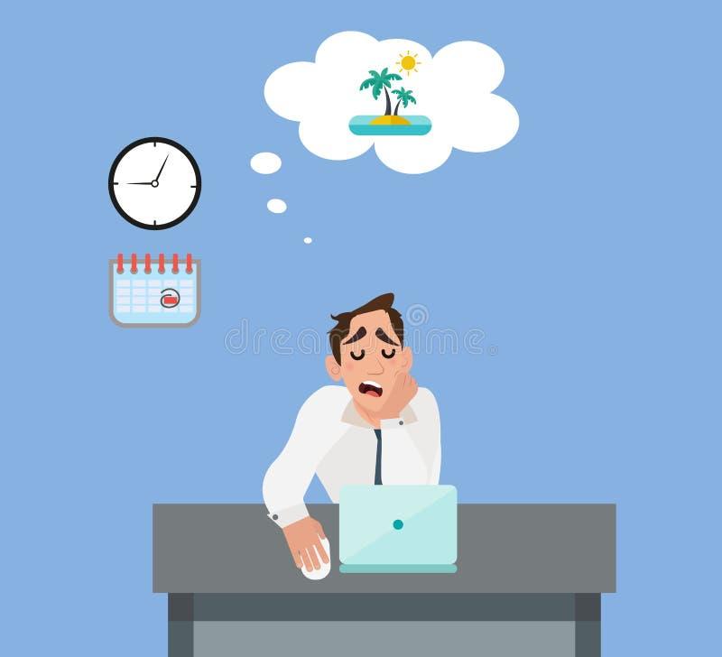 Бизнесмен в офисе мечтая о каникулах бесплатная иллюстрация