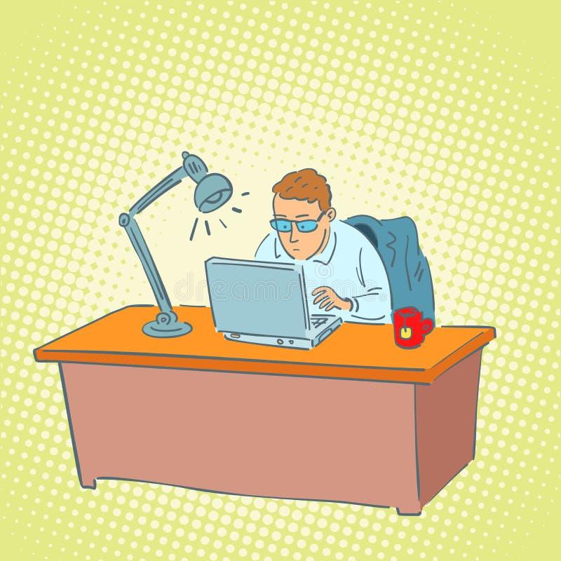 Бизнесмен в офисе работая на компьтер-книжке иллюстрация вектора